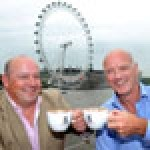 TCG's commercial director Nick Francis and chief operating officer Nigel Wright enjoy a cup of Cafeology coffee on the company's flagship site, the Tattershall Castle